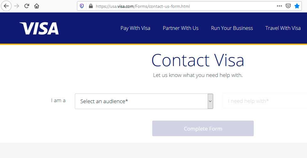 Контактная форма Visa