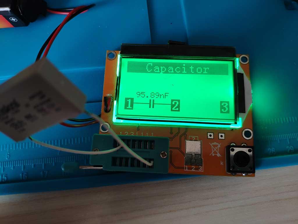 Замер емкости неисправного конденсатора